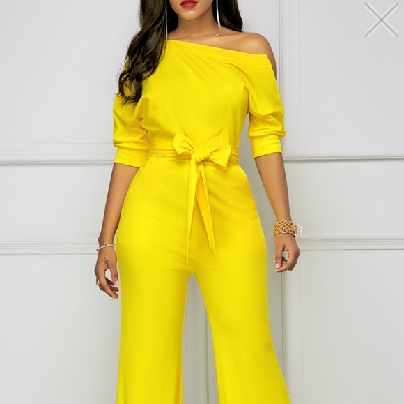 e52cba2f878 Belted yellow jumpsuit
